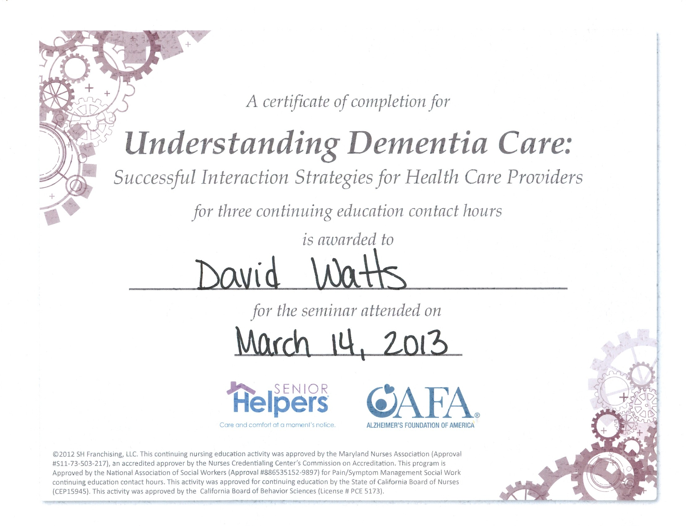 David Stephen Watts Resume Caregiver Training